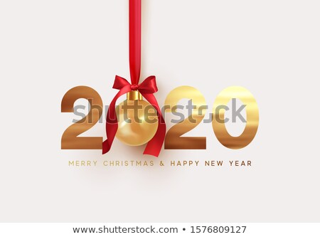 Nouvelle année 3D or babiole rouge carte de vœux Photo stock © cienpies