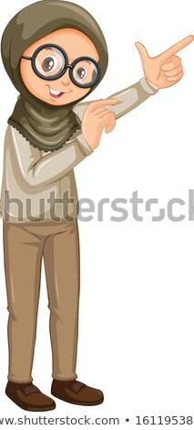 Müslüman kız safari üniforma beyaz örnek Stok fotoğraf © bluering