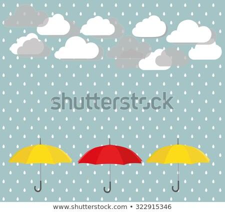 molhado · guarda-chuva · vermelho · chuva · cair · objeto - foto stock © loopall