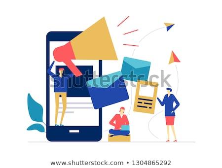 Communiceren online kleurrijk ontwerp stijl illustratie Stockfoto © Decorwithme