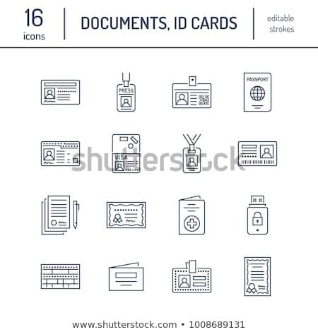 Passport Access Icon Vector Outline Illustration Stok fotoğraf © Nadiinko