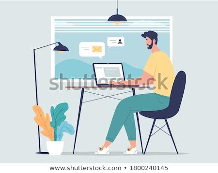 Desenho animado moço comprimido trabalhando secretária Foto stock © Voysla