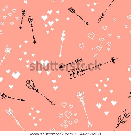 набор черный розовый оберточной бумаги бесшовный сердце Сток-фото © Ecelop