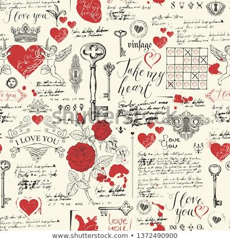 Papel viejo corazón rojo ilustrado muchos pequeño Foto stock © marinini