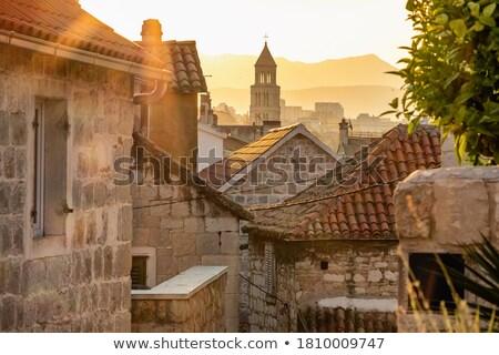 Keskeny utca óváros lakóövezeti épületek Horvátország Stock fotó © rognar
