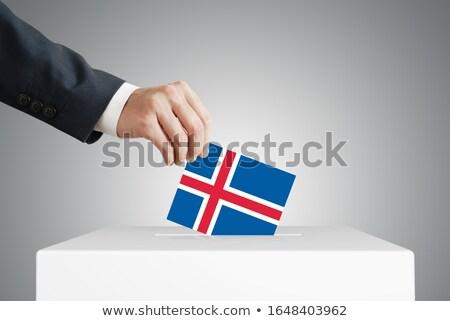 zászló · Izland · 3D · renderelt · kép · terv · háttér - stock fotó © ustofre9