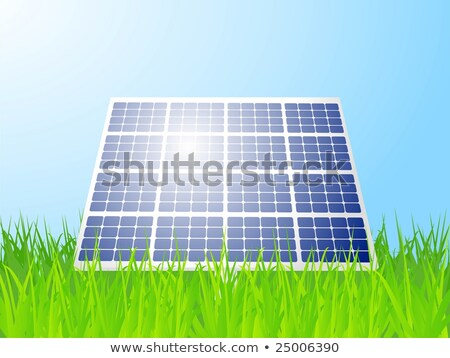 Alternative energy solar panels stood in lush green grass Stock photo © krabata