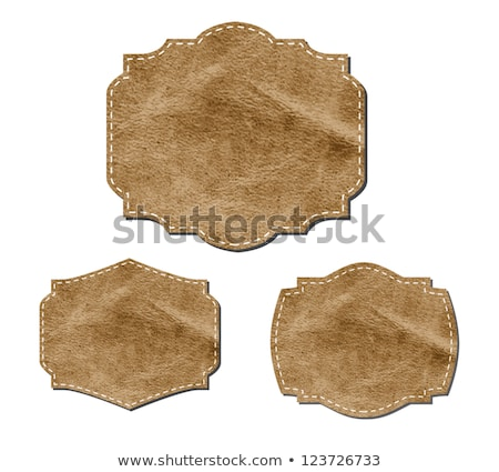 Leather banner labels with buttons Stock photo © obradart