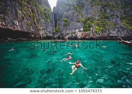 Snorkeling widok z lotu ptaka ocean sportu lata Zdjęcia stock © Witthaya