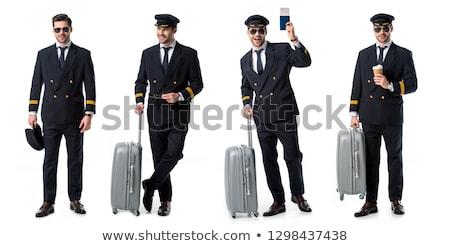 Fiatal pilóta izolált fehér férfi boldog Stock fotó © Elnur