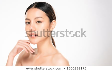 young female with fresh clear skin white background stock photo © nobilior