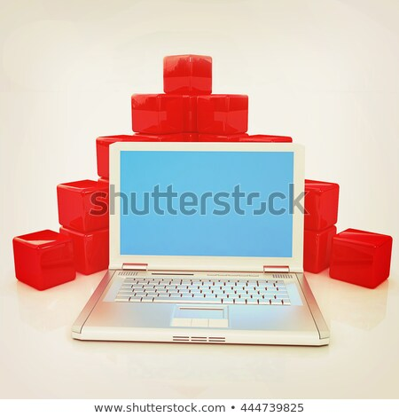 Cubic diagram structure and laptop Stock photo © Guru3D