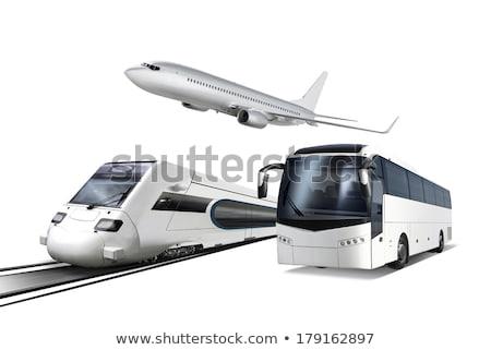 Kollázs szállítás repülőgép vonat busz izolált Stock fotó © ssuaphoto