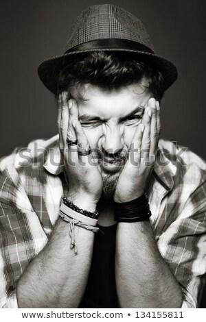 Sépia retrato engraçado cara nu textura Foto stock © Nejron
