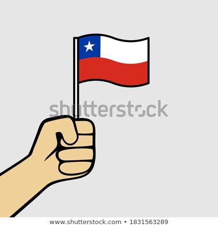 Foto stock: Chile · pequeno · bandeira · mapa · foco · fundo