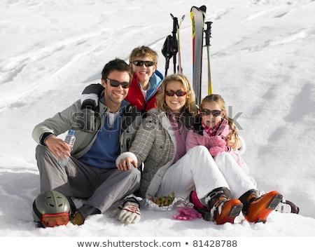 jonge · familie · picknick · ski · vakantie · meisje - stockfoto © monkey_business
