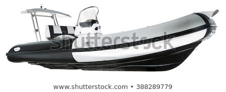 Goma lancha de motor aislado blanco transporte motor Foto stock © andromeda