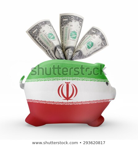 bankrupt piggy rich bank in colors of national flag of iran c stock photo © vepar5