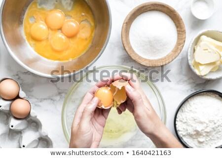 Pékség tojás tojássárgája kéz keverő étel Stock fotó © nalinratphi