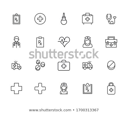 Health line icons on white background Stock photo © punsayaporn
