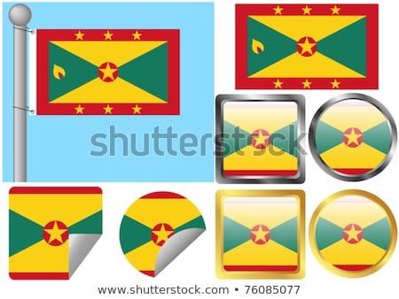 Tér fém gomb zászló Grenada izolált Stock fotó © MikhailMishchenko