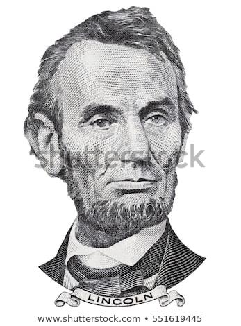 Macro of Abraham Lincoln on five USA dollar banknote Stock photo © artush