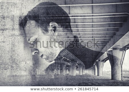 Tired exhausted man in trouble, double exposure Stock photo © stevanovicigor