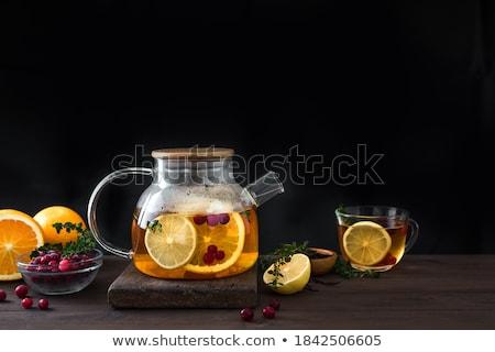 üveg teáskanna fehér háttér zöld tea Stock fotó © shutswis