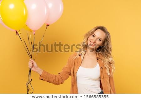 szőke · nő · lány · léggömbök · háziasszony · pózol · stúdió - stock fotó © disorderly
