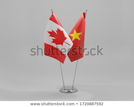 Foto stock: Canadá · Vietnã · bandeiras · quebra-cabeça · isolado · branco
