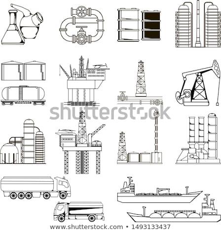 pump jack oil crane line icon stock photo © rastudio