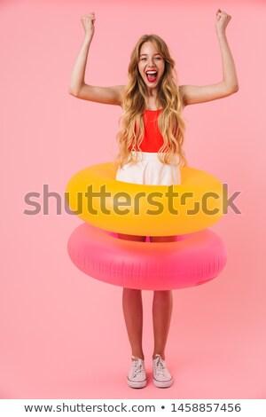 nő · hosszú · haj · fürdőruha · áll · móló · bájos - stock fotó © deandrobot