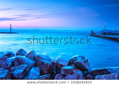 Beautiful sunset light on winter lake Balaton (Hungary) Stock photo © digoarpi