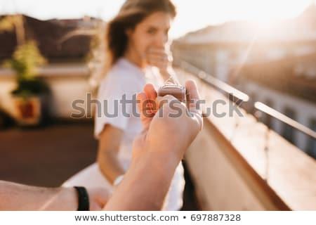Férfi felajánlás eljegyzési gyűrű meglepődött nő étterem Stock fotó © wavebreak_media