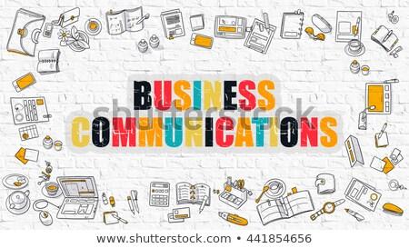 Business interazione bianco doodle icone in giro Foto d'archivio © tashatuvango