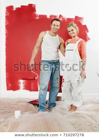 Pár újonnan festett fal férfi festék Stock fotó © IS2
