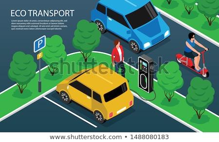 şehir taşıma izometrik yatay kamu Stok fotoğraf © studioworkstock