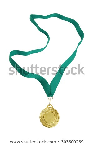 Golden medal with ribbon on green background Stock photo © studioworkstock