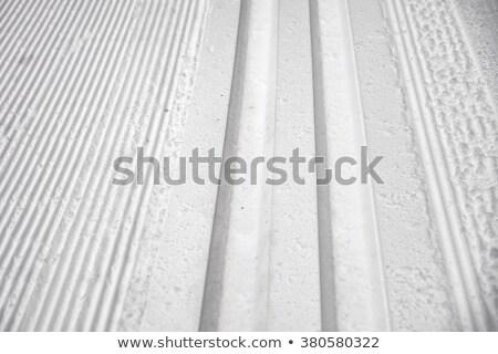 Classic and skating ski tracks on white snowdrift Stock photo © Mps197