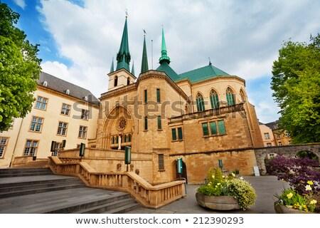 Katedra Notre Dame Luksemburg miasta krajobraz kościoła niebieski Zdjęcia stock © benkrut
