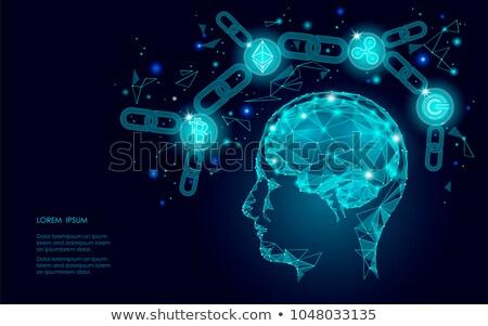Bitcoin valuta emberi agy forma üzlet siker Stock fotó © alexaldo