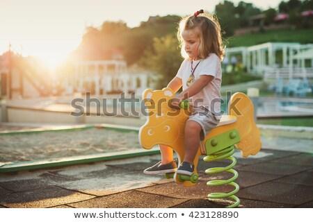 Gyerekek játszótér naplemente park boldog völgy Stock fotó © davidgn