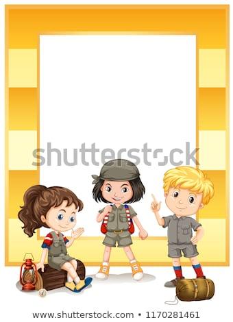 Csoport felderítő keret illusztráció lány háttér Stock fotó © bluering