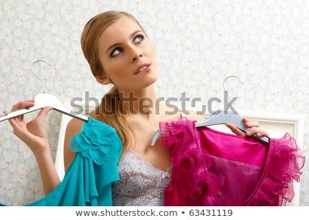 Nadenkend blond modieus kleding poseren Stockfoto © acidgrey