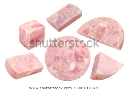 Piece of marbled ham slice, paths Stock photo © maxsol7