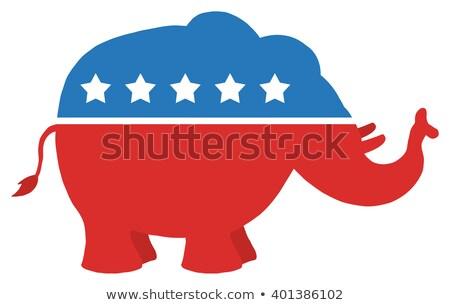 Republikein olifant Blauw cirkel label ontwerp Stockfoto © hittoon