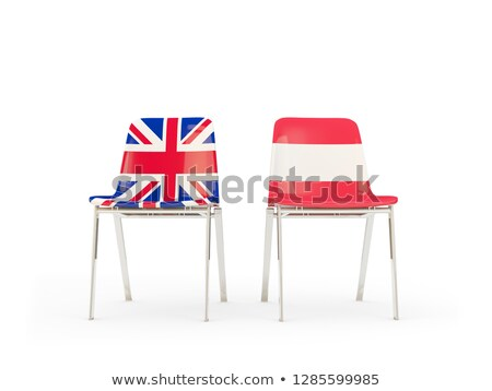 two chairs with flags of uk and austria isolated on white stock photo © mikhailmishchenko