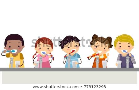 Doodle boy brushing teeth Stock photo © colematt