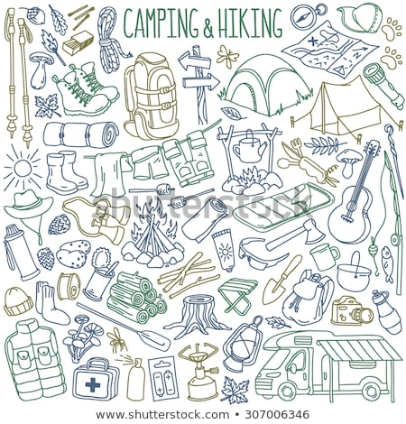 hiking and camping hand drawn outline doodle icon set stock photo © rastudio