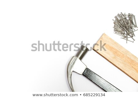 hammer nails and wooden planks on white background isolated 3 stock photo © nobilior